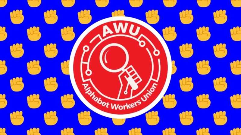 red logo of Alphabet Workers Union