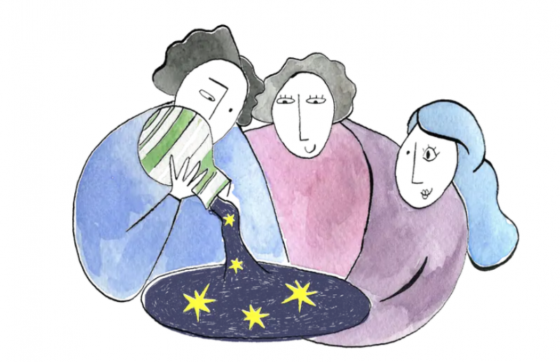Illustration of people puring the stars out of a mason jar.