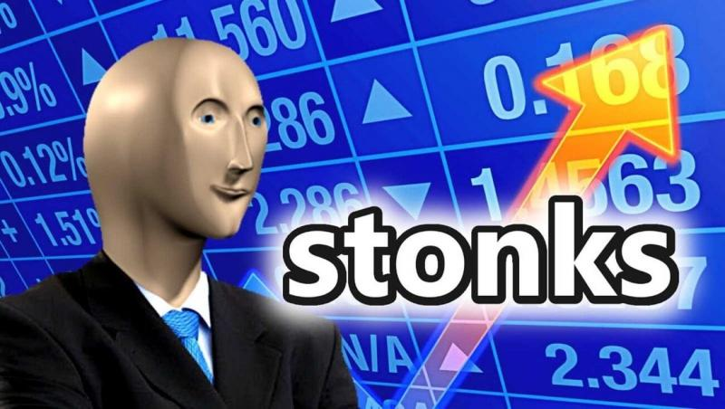 """meme of 3D guy in suit in front of stock price numbers and an up arrow that says """"stonks"""""""